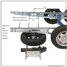 Держатель запасного колеса для рамы прицепа шириной 1450-1850 мм